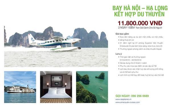 Gói bay Hà Nội - hạ Long kết hợp ngủ đêm trên du thuyền 2 ngày 1 đêm dành cho 2 khách với giá 11.800.000 đồng.