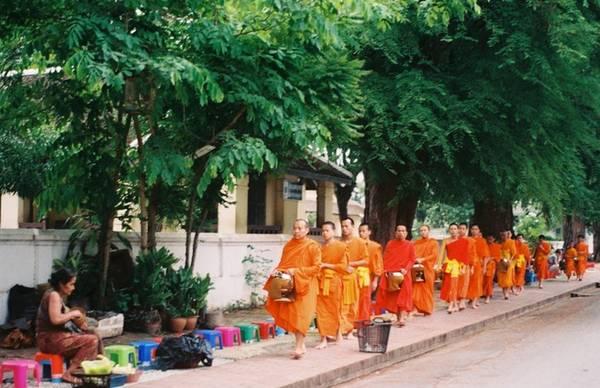Xem lễ khất thực của các nhà sư: Khoảng 5h30' sáng thức giấc rồi đi bộ hoặc đạp xe vào tuyến phố trung tâm của Luang Prabang, bạn sẽ được thấy cảnh hàng dài các nhà sư, chú tiểu đi làm lễ khất thực. Khách du lịch cũng có thể đặt chỗ để ngồi phát thức ăn, hoa quả cho các nhà sư.
