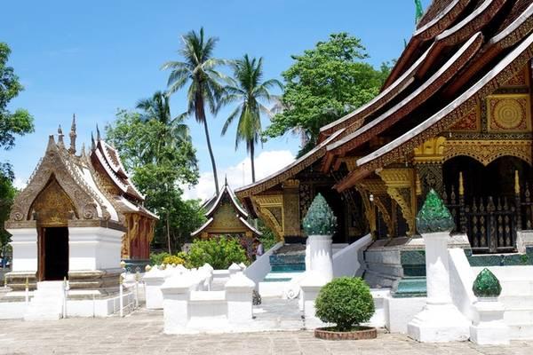 Tham quan chùa Xieng Thong: Xieng Thong là ngôi chùa cổ, đẹp và quan trọng bậc nhất cố đô Luang Prabang. Ấn tượng đầu tiên khi bạn vừa tới đây là những tầng mái đồ sộ, lớp trang trí cầu kỳ cùng nhiều cột trụ ốp đá xanh bên ngoài. Mỗi một bước chân là bạn lại khám phá thêm nhiều điều mới lạ của ngôi chùa, đó là những bức phù điêu, chạm khắc, tranh tường về đức Phật. Giá vé vào chùa Xieng Thong là 20.000 kip (54.000 đồng).