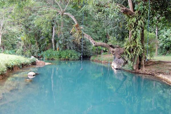 Động hồ nước xanh Poukham thu hút rất đông du khách.