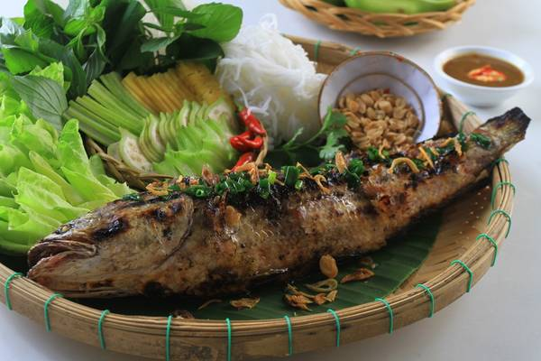 Món cá lóc nướng trui.Ảnh:chiecthiavang