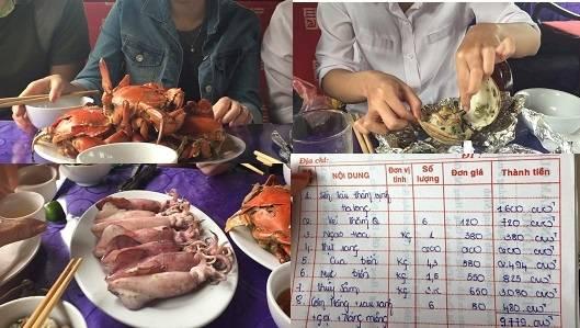 Một bữa ăn hải sản trị giá gần 9 triệu rưỡi tại Vịnh Hạ Long. (Nguồn Internet)