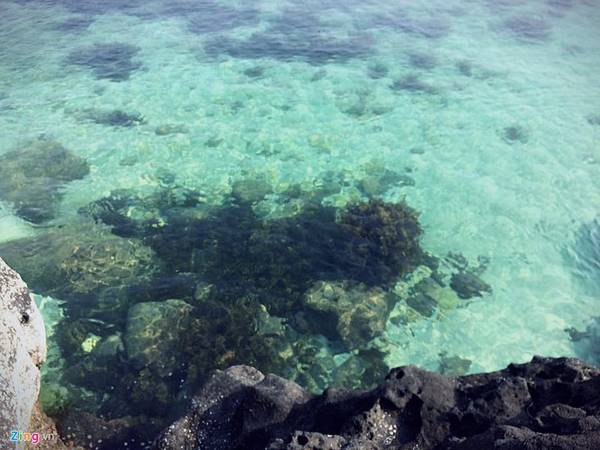 """Được đắm mình trong dòng nước trong vắt và mát lạnh ở """"thiên đường"""" bãi Ngang - đảo Bé luôn là niềm mơ ước của dân du lịch."""