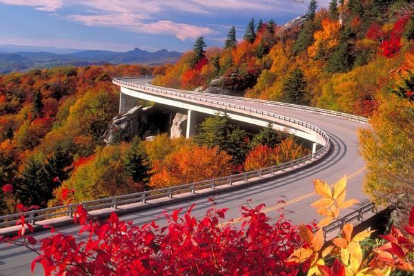Đường Blue Ridge, Carolinas và Virginia: Tuyến đường dài 800 km qua dãy Great Smoky và các công viên quốc gia vùng Shenandoah dành cho những người muốn khám phá vẻ đẹp tự nhiên của nước Mỹ. Mỗi mùa tuyến đường có một vẻ đẹp riêng: màu sắc lộng lẫy của lá cây vào mùa thu, tán rừng xanh biếc vào mùa hè, và hàng thông phủ tuyết trắng xóa mùa đông. Ảnh: Camelcitydispatch.