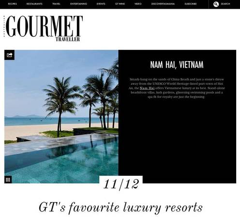 Top 12 khu nThe Nam Hải vào Top 12 khu nghỉ dưỡng đẳng cấp nhất do tạp chí Gourmet Traveller của Úc bình chọn.