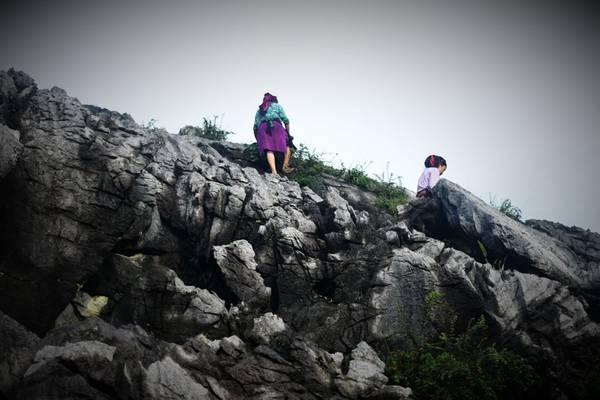 Hai cô gái vùng cao vất vả trèo lên qua những mỏm đá hái rau rừng.