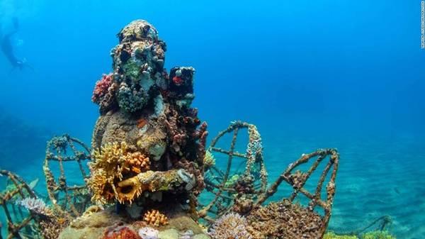 7. Pemuteran, Indonesia: Pemeturan ở Bali (Indonesia) có các khu vực lặn bình khí độc đáo, như những bức tượng Phật phủ đầy san hô. Ngoài ra, nơi đây còn có nhiều khu nghỉ dưỡng và nhà hàng sang trọng phục vụ du khách.