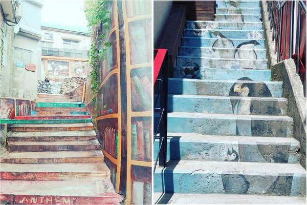 Ở đây có rất nhiều bậc thang được các nghệ sĩ biển hóa thành nhiều phong cách nghệ thuật khác nhau. Ảnh: Instagram.