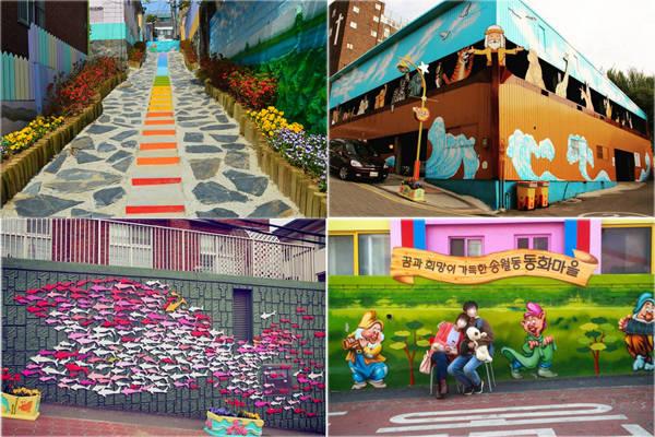 Tất cả mọi ngõ ngách, bức tường đều được vẽ lên những bức tranh vui nhộn, lấy bổi cảnh từ các bộ phim hoạt hình nổi tiếng. Có những bức tường là các tác phẩm điêu khắc, hoặc tượng tạc các con vật, giống tạo hình 3D. Ảnh: Instagram.