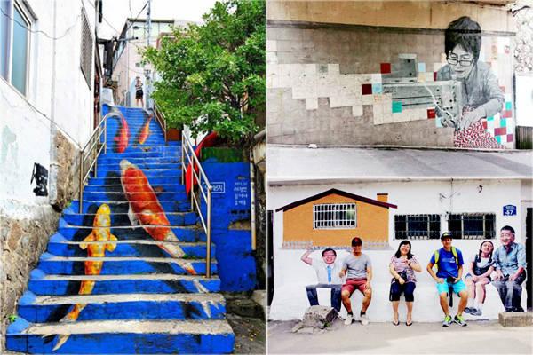 Đến đây, du khách được chiêm ngưỡng những tác phẩm điêu khắc bằng kim loại bên cạnh các con đường nhỏ, hay hình ảnh phác họa người dân. Ngay cả những bậc thang cũng trở nên sống động hơn nhờ bức vẽ sặc sỡ. Ảnh: Instagram.