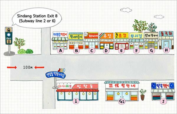 Bản đồ các quán nổi tiếng trên đường, phố cách ga tàu điện ngần Sindang khoảng 100m.