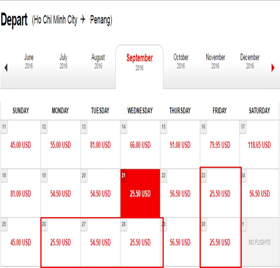 Giá vé tham khảo chặng Hồ Chí Minh - Penang.