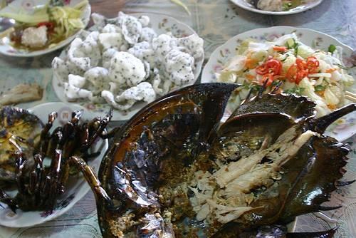 Trong đó hấp dẫn nhất là món sam nướng ăn cùng củ cải ngâm dấm, lạc rang, hành khô, mắm, tỏi, ớt. Ảnh: An Huỳnh.
