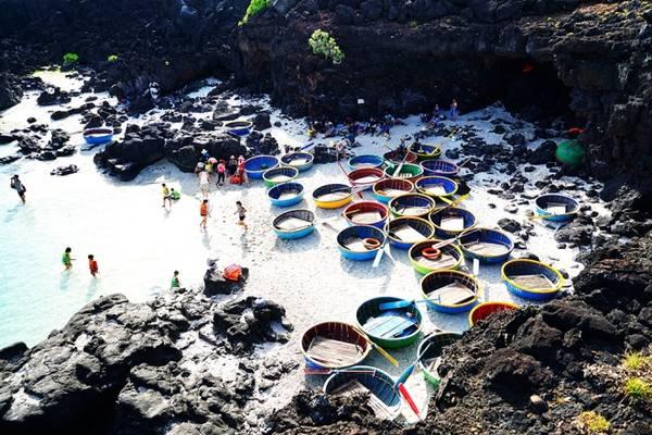 Trong khi một số du khách tắm biển hay chụp ảnh làm lưu niệm, số khác mặc áo phao lên thuyền thúng lênh đênh cùng ngư dân.