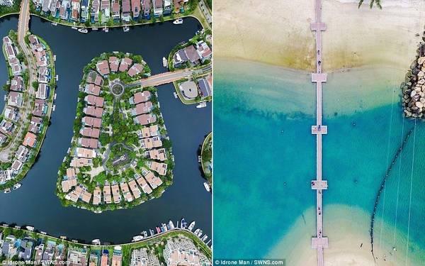 Bên trái là khu nhà dân và bến cảng của khu Sentosa Cove, bên phải là cầu nối đảo Sentosa với đất liền.
