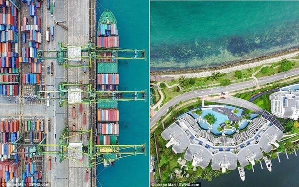 Những container chở hàng đầy màu sắc ở cảng Singapore và các ngôi nhà ven biển ở Sentosa Cove.