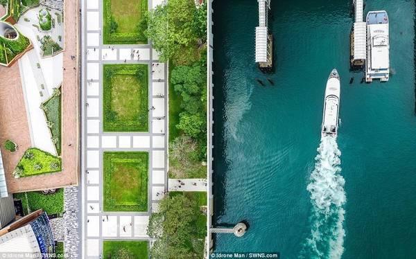 Từ góc nhìn này, du khách có thể thấy quảng trường Marina được quy hoạch khoa học, sạch đẹp (ảnh trái). Ảnh bên phải là khu bến cảng với làn nước xanh biếc.