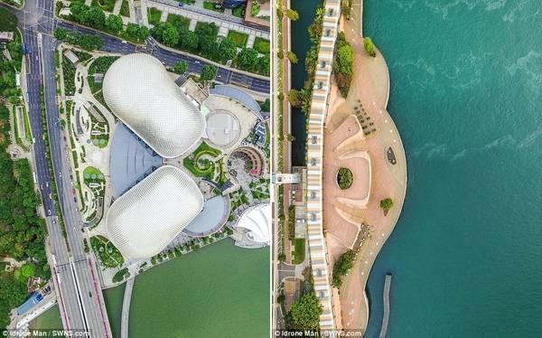 Ảnh trái là một góc nhìn khác về The Esplanade. Bên phải, tuyến đường Sentosa Broadwalk là nơi lý tưởng để du khách dạo chơi và ngắm cảnh.