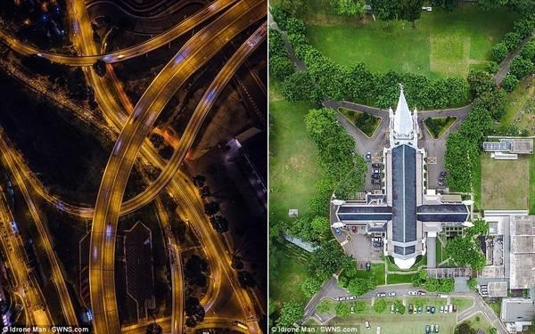 Vào buổi tối, rất ít phương tiện xuất hiện trên đường. Bên phải là khung cảnh Saint Andrew, thánh đường lớn nhất Singapore.