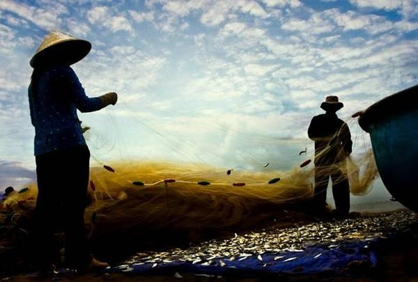 Cuộc sống của người dân chài hết sức mộc mạc, đơn giản với những chiếc thuyền thúng, thuyền gỗ, với mái chèo và mảnh lưới.