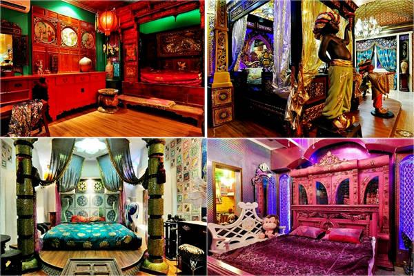 Những căn phòng được trang hoàng theo lỗi cổ xưa của các nước Nhật Bản, Ẩn Độ, Trung Quốc, Hàn Quốc...