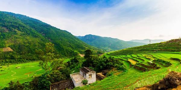 Con đường nhỏ dẫn vào thác Khe Văn uốn lượn đi qua những thửa ruộng bậc thang. Ảnh: Tiệp&Chiến