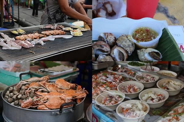 Krabi là một thành phố biển, hải sản ở đây đặc biệt tươi, ngon và rẻ hơn những nơi khác ở Thái Lan. Đừng ngại khi mua đồ biển ở chợ đêm, nhiều khi hải sản ở đây còn tươi hơn cả trong những khu nhà hàng ven biển vì lượng khách đi chợ rất đông nên quầy đồ ăn luôn bán hết trong ngày. Một phần ốc, ghẹ hoặc tôm nướng... có giá khoảng 50 - 100 baht (khoảng 40.000 - 70.000 đồng)