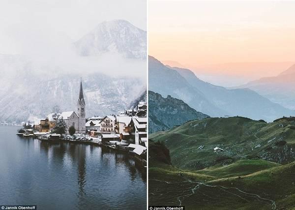 Ảnh trái là ngôi làng Hallstatt ở Áo trong mùa đông. Ảnh phải là bình minh đầy sương trên núi.