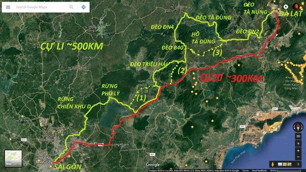 Cung đường Sài Gòn - Đà Lạt cho các bạn tham khảo. Cung màu xanh là cung đường mình đang nói tới, còn cung đường đỏ là QL20.