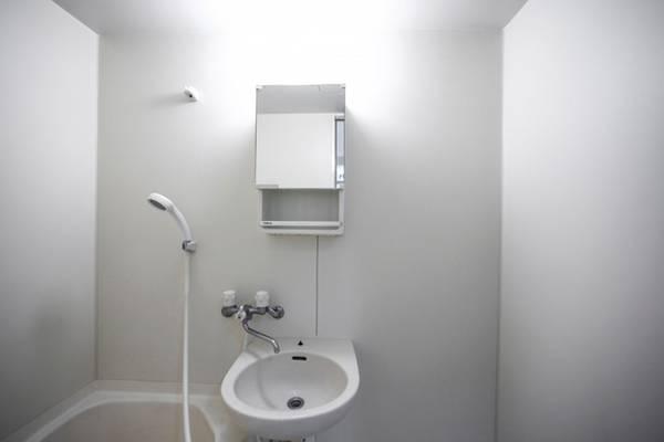 Dầu gội, sữa tắm và những vật dụng vệ sinh khác được cất trong những tủ ẩn trên tường.