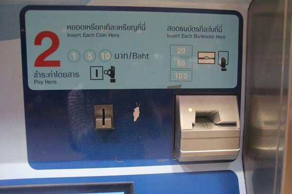 Với máy bán vé tàu điện ngầm bạn có thể trả bằng tiền giấy hoặc tiền xu, trong hình là hai khe để bỏ tiền xu hoặc tiền giấy. Ảnh: San San