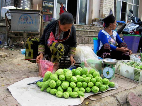 Những sơn nữ bản địa ngày ngày gùi su su quả xuống bán tại chợ phiên - Ảnh: N.T.LƯỢNG