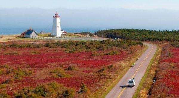 New Brunswick: Con đường ven biển Fundy là một trong những tuyến đường ven biển hàng đầu thế giới, đi xuyên qua vịnh Fundy và những địa điểm hải dương tự nhiên tuyệt vời nhất của tỉnh này. Trong những tuần đầu tiên của tháng Mười, con đường như rực sáng lên bởi màu sắc thay lá mùa thu.