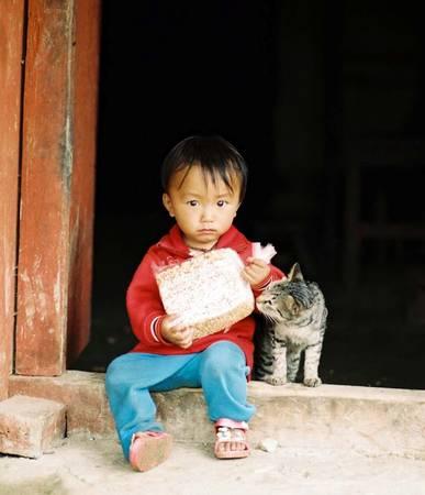 Khi cha mẹ lên nương, trẻ con thường làm bạn với những vật nuôi gần gũi trong nhà như chó, mèo.