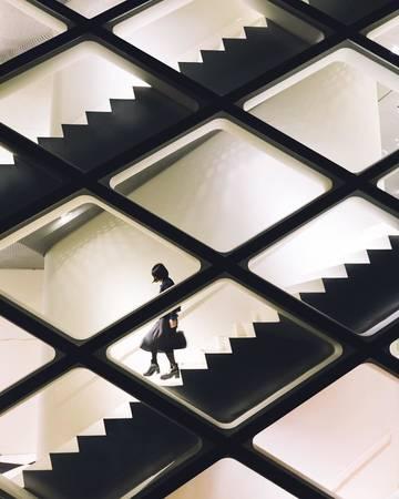 Kiến trúc hiện đại độc đáo tại một tòa nhà.