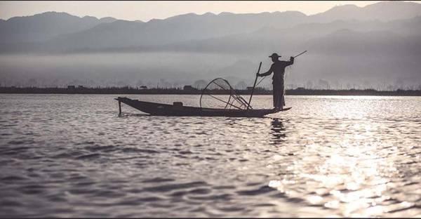 Người dân ở đây chèo thuyền đánh bắt cá chỉ với một chân, đứng ở cuối mũi thuyền, giữ thăng bằng và thả lưới. Đây là cánh đánh bắt rất độc đáo của cư dân Myanmar.