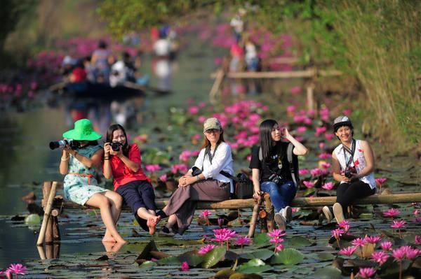 Rất đông bạn trẻ đến chùa Hương thời gian này để chụp ảnh và tận hưởng không gian đậm chất nông thôn Bắc bộ.