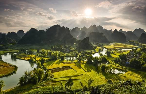 Hoàng hôn trên mùa vàng Phong Nậm, một xã biên giới của huyện Trùng Khánh. Tuy không nổi tiếng như ở Bản Giốc nhưng lại thu hút rất nhiều tay săn ảnh bởi cảnh đẹp mùa vàng hòa quyện với núi đồi trùng điệp.