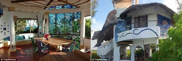 Khu nhà có phòng khách lắp tường kính màu và 3 phòng ngủ, với chi phí 314 bảng (khoảng 9 triệu đồng) một đêm.