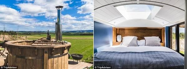 Ngoài ra, khu nhà còn có bếp lò dùng gỗ, bếp nướng, bể tắm nước nóng và cửa sổ trời ở phòng ngủ. Giá thuê 2 phòng của xe là 150 bảng (khoảng 4,3 triệu đồng) một đêm.