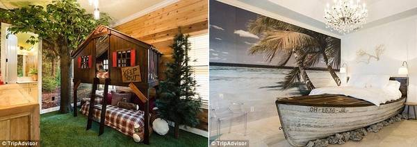 Mỗi phòng ngủ được trang trí theo các chủ đề khác nhau, như bên trong ngôi nhà trên cây, hay mô phỏng một chiếc thuyền.