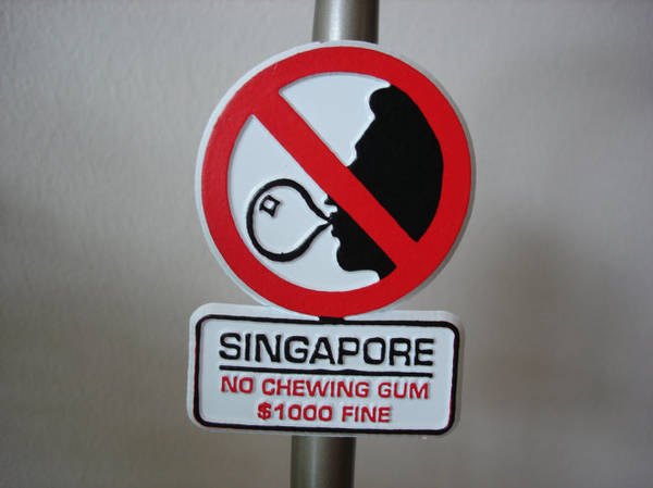 Since 1992, the Singapore government has banned people from selling and chewing gum - Photo: Stain Eaters