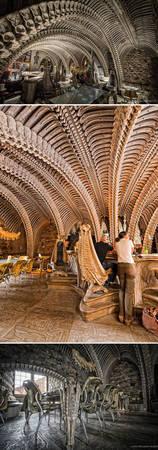 Nhà hàng Hr Giger Museum Bar ở Gruyères, Thụy Sĩ với kiến trúc và bày trí độc đáo - Ảnh: BOREDPANDA