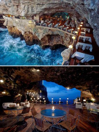 Nhà hàng trong hang động ở Puglia, Ý