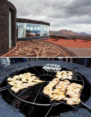 Nhà hàng ở El Diablo, Lanzarote, Tây Ban Nha phục vụ khách món thịt nướng trên...núi lửa - Ảnh: BOREDPANDA