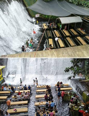 Nhà hàng thác Labassin, Villa Escudero Resort, Philippines, nơi thực khách được dùng bữa giữa thác nước - Ảnh: BOREDPANDA