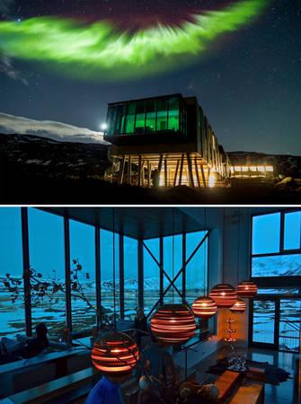 Nhà hàng thuộc khách sạn Ion Iceland, nơi lý tưởng để thực khách ngắm bắc cực quang - Ảnh: BOREDPANDA