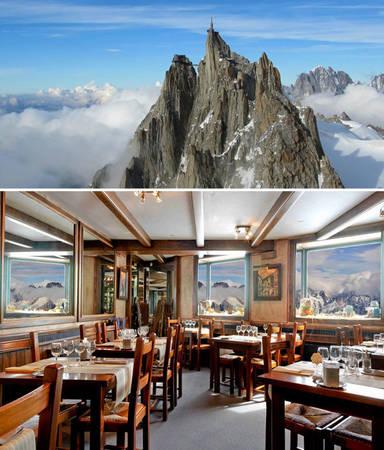 Nhà hàng Aiguille Du Midi nằm ở độ cao 3.842m tại Chamonix, Pháp - Ảnh: BOREDPANDA