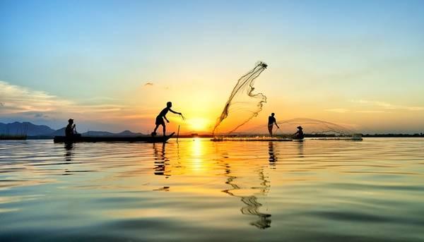 """Ruộng đồng hôm trước nhưng hôm sau khắp nơi thuyền bè giăng câu thả lưới. Đến khi con nước rút, lại là lúc cá tôm sinh sôi nảy nở trên các cánh đồng, chúng tìm đường """"hồi hương"""" về sông, mở màn cho vụ bắt cá của người dân An Giang."""