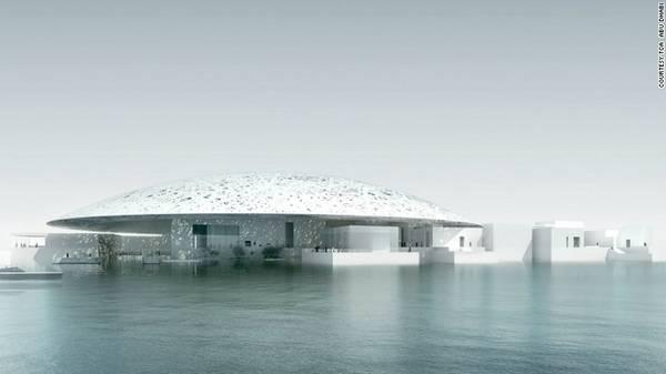 13. Bảo tàng Louvre: Dự kiến chính thức mở cửa vào năm 2017, đây sẽ là nơi trưng bày nhiều tác phẩm vô giá của cả 2 trường phái nghệ thuật Đông và Tây. Điểm nhấn của bảo tàng là cấu trúc mái vòm kép, với các khe mắt cáo cho ánh sáng tự nhiên lọt vào khu trưng bày. Một phần của bảo tàng được xây dựng ngay trên mặt nước.